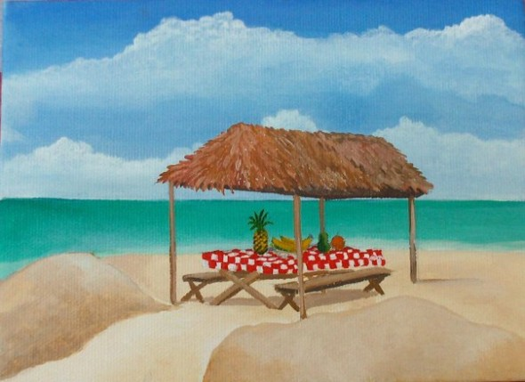 Picnic In The Tiki Hut by Christine Velez Stone