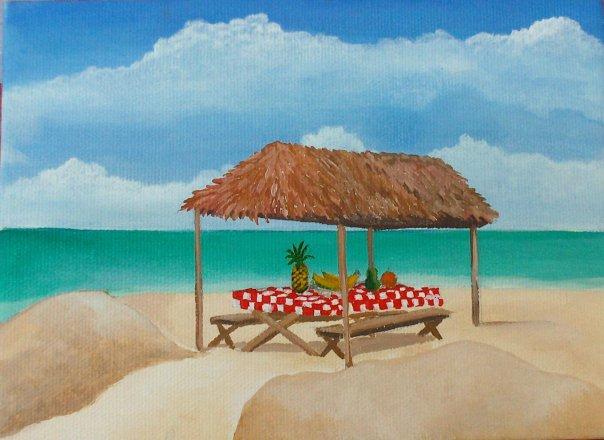 Picnic In The Tiki Hut by Christine Velez Stone