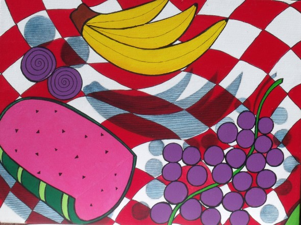 Fruit Frenzy 2, acrylic painting with pen and ink