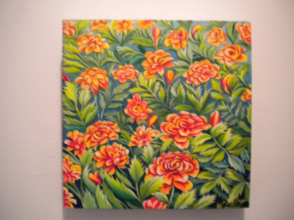 While In The Garden, acrylic painting by Christine Velez Stone