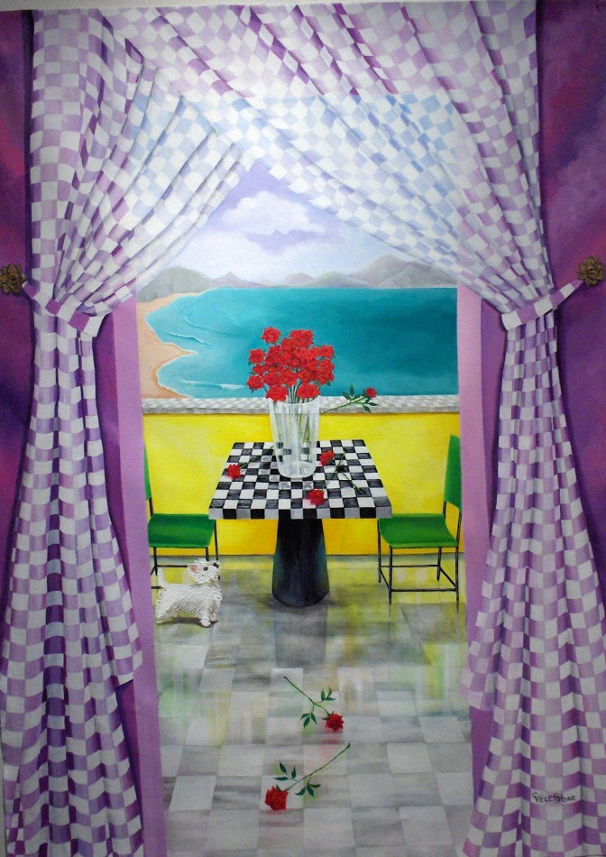 Westie And The Roses, acrylic painting by Christine Velez Stone