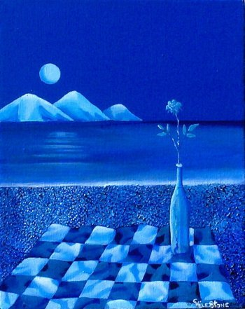 Blue Moon, acrylic painting by Christine Velez Stone