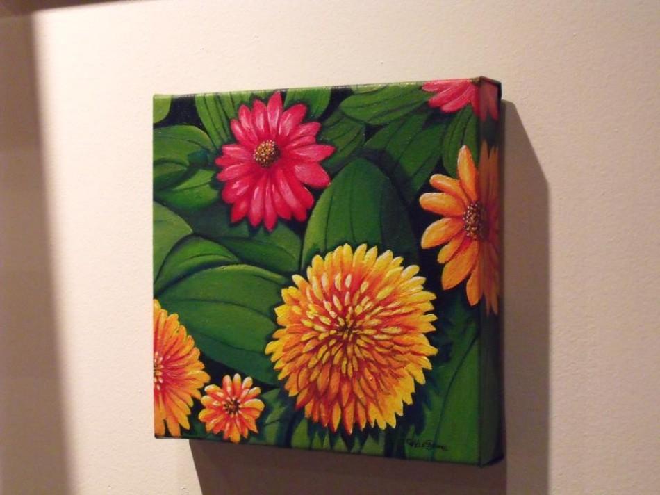 colorful flowers, acrylic painting by Christine Velez Stone