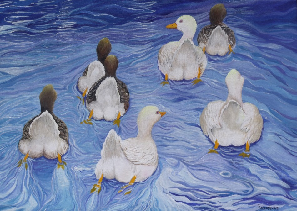 The Race acrylic painting by Christine Velez Stone