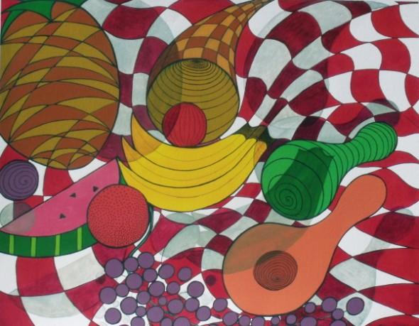 Fruit Frenzy, acrylic paint, pen and ink painting by Christine Velez Stone