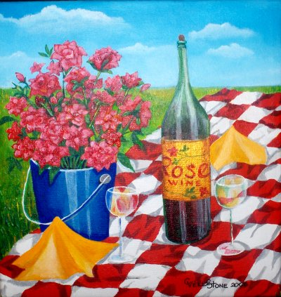 Rose Wine, acrylic painting by Christine Velez Stone