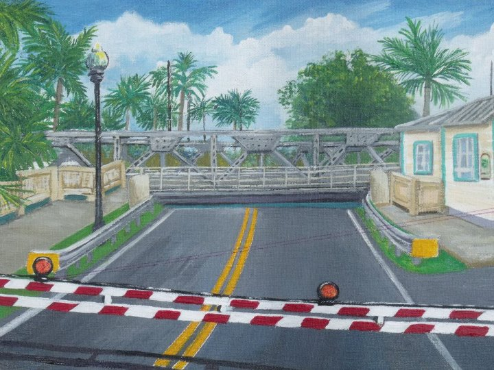 Swing Bridge acrylic painting by Christine Velez Stone