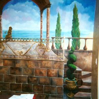 Trompe L'Oeil  mural on canvas home office