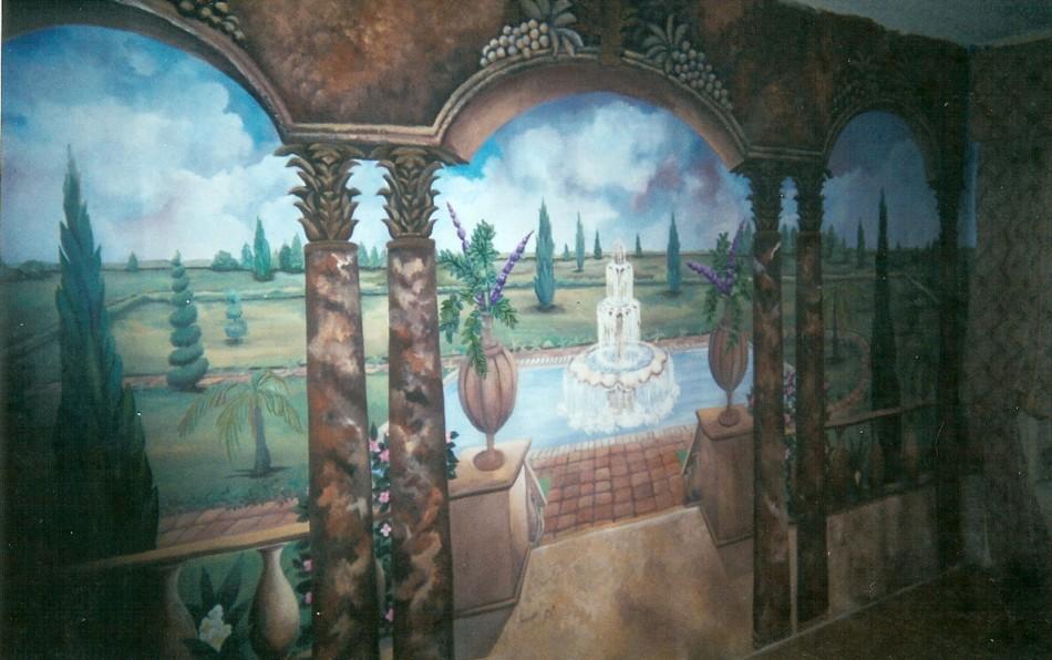 Trompe L'oeil mural on canvas, Parlor Room