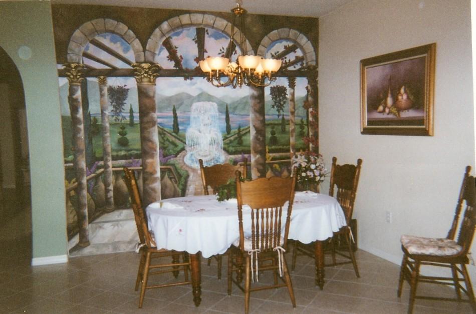 Dining Room Trompe L' Oeil On Canvas